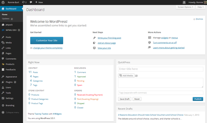 new wp dashboard Μαθήματα Wordpress